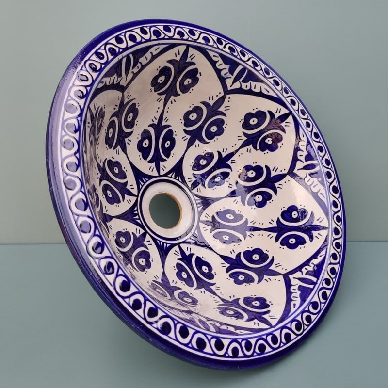 lavabo marroquí azul