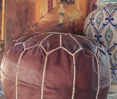 puff marroquí de cuero