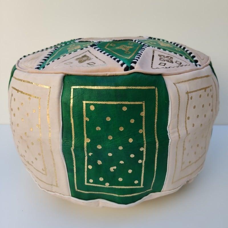 puff de cuero árabe verde