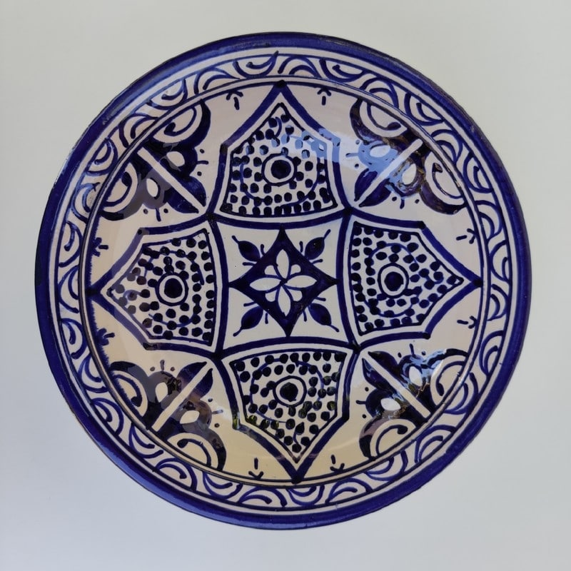 plato azul de marruecos